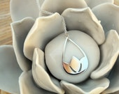 Lotus Pendant Flower Necklace Sterling Silver Water Lilly in Raindrop Zen Minimalist Jewelry