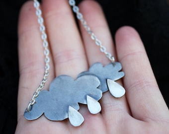 rain cloud pendant rainy day necklace weather jewelry