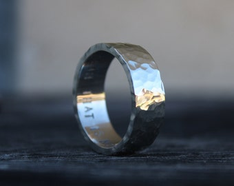 wide hammered band sterling silver ring mens 8mm textured band