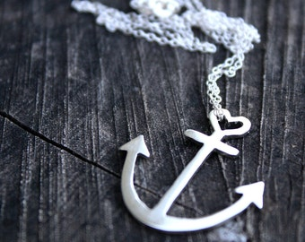 anchor necklace sterling silver anchor pendant with heart detail delicate nautical jewelry