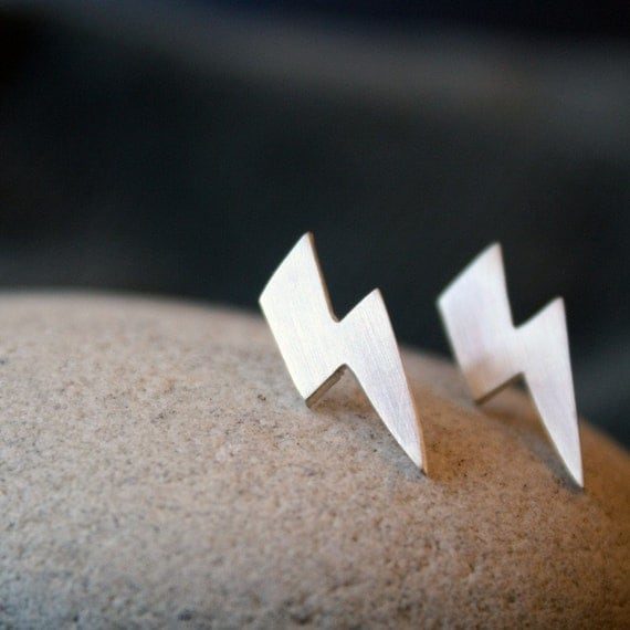 lightning bolt stud earrings silver lightning studs ACDC earrings