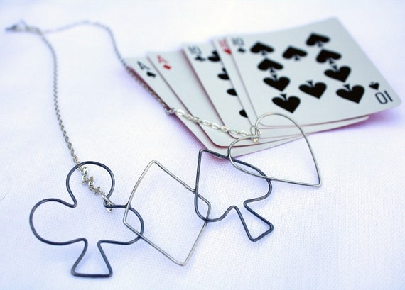 deck of cards pendant playing cards poker gambling necklace