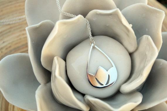 Lotus Pendant Flower Necklace Sterling Silver Water Lilly in Raindrop Zen Minimalist Jewelry