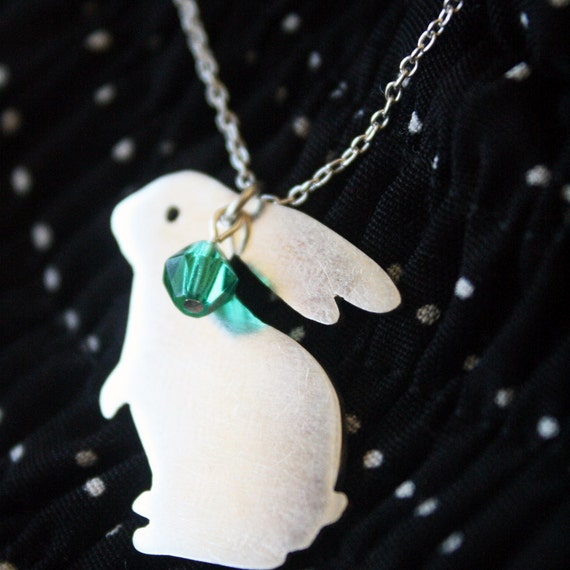 rabbit necklace shy bunny pendant handmade sterling and beaded jewelry cute necklace