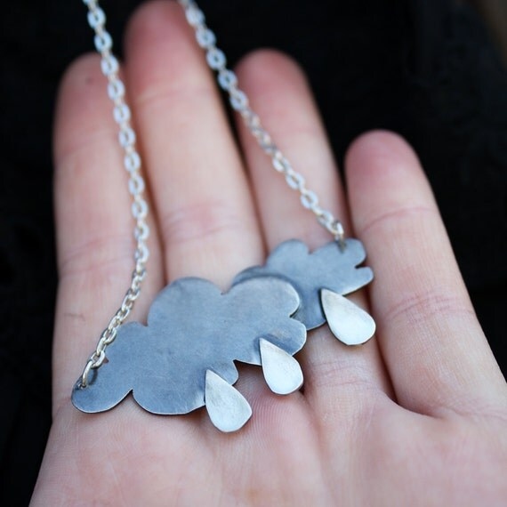 rain cloud pendant rainy day necklace weather jewelry