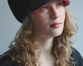 black wool knitted beanie with grey wool felt visor