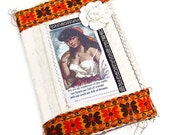 Upcycled Art Journal - fabric covered Scrap journal - junque journal - Junk album - smash album - notebook - gypsy