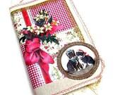 Handmade  Journal - fabric covered Scrap journal - Photo album - diary - notebook -Junk Journal- Junque book