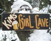 PERSONALIZED GIRL CAVE - Country Primitive Rustic Shabby Chic Wood Handmade Girl Cave Sign Plaque