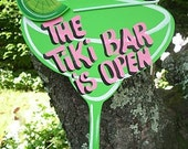 The TIKI BAR is OPEN - Tropical Paradise Beach House Pool Patio Tiki Hut Bar Drink Handmade Wood Sign Plaque