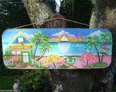 Tropical Paradise Whimsical Wall Art Pool Patio Beach House Hot Tub Tiki Bar Hut Parrothead Handmade Wood Sign Plaque