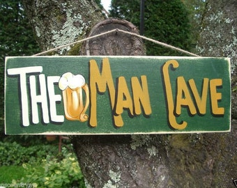 THE MAN CAVE - Country Rustic Primitive Shabby Chic Wood Handmade Sign Plaque