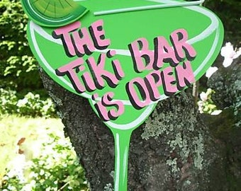 The TIKI BAR is OPEN - Tropical Paradise Beach House Pool Patio Tiki Hut Bar Drink Handmade Wood Sign Plaque