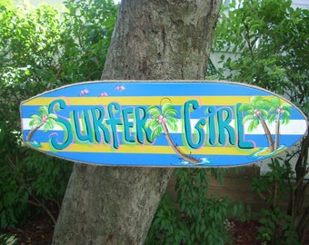 SURFER GIRL SURFBOARD - Wall Art Tropical Paradise Pool Patio Beach House Hot Tub Tiki Bar Hut Parrothead Handmade Wood Sign Plaque