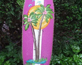 SURFBOARD WALL ART - Tropical Paradise Pool Patio Beach House Hot Tub Tiki Bar Hut Parrothead Handmade Wood Sign Plaque