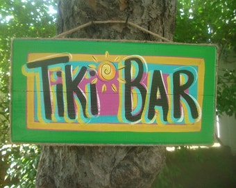 TIKI BAR - Tropical Beach House Pool Patio Hut Bar Handmade Wood Sign Plaque