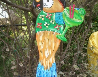 PIRATE PARROT - Tropical Beach House Pool Patio Hut Bar Handmade Wood Sign Plaque