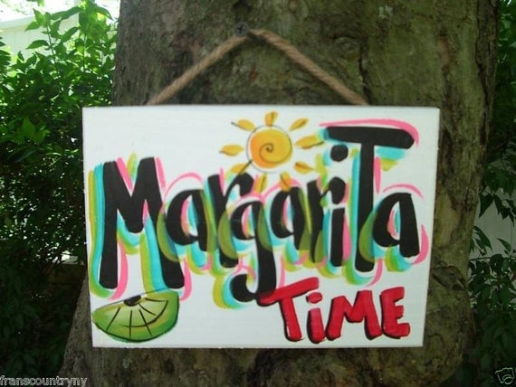 MARGARITA - Tropical Pool Patio Beach House Hot Tub Tiki Bar Hut Parrothead Handmade Wood Sign Plaque