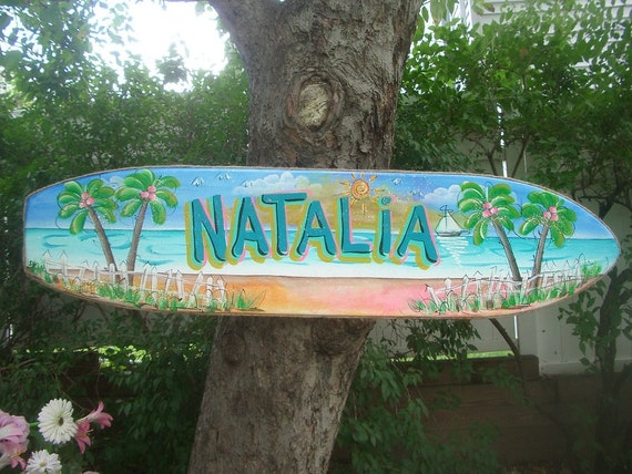 Personalized SURFBOARD WALL ART - Tropical Paradise Pool Patio Beach House Hot Tub Tiki Bar Hut Parrothead Handmade Wood Sign Plaque