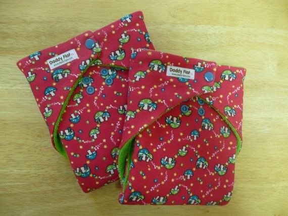 MEDIUM Daytime Daddy Flat Cloth Diapers-- Set of Two Red Mushroom Print
