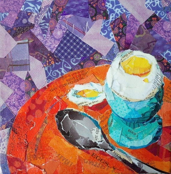 """Soft Boiled Egg Original Paper Collage painting 6"""" X 6"""""""