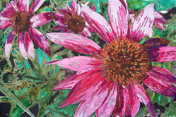 FLOWER POWER Original Watercolor and Ink Coneflower Painting