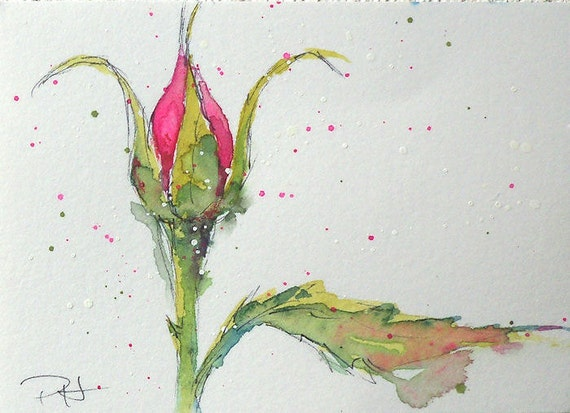 "Language of Flowers ACEO Pink Rosebud ""Grace""  watercolor"