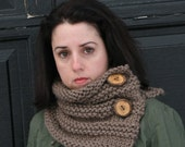 Knit Neckwarmer in Taupe with Reclaimed Tree Branch Buttons/THE BRIAR