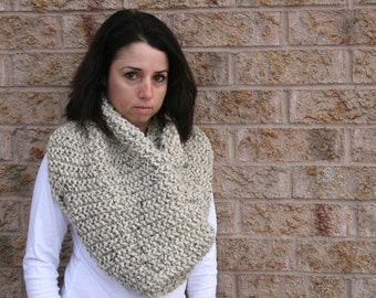 Large Chunky Cowl Wrap in Oatmeal /THE SIMCOE