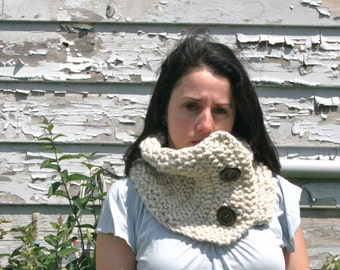 Chunky Knit Neck-Warmer, Scarf with Wood Buttons  // Wheat // THE SAUBLE