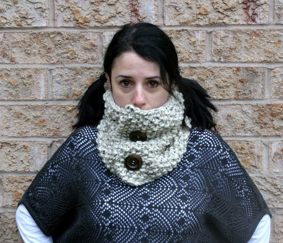 Chunky Cowl Neck Warmer with Wood Buttons/Oatmeal/THE SAUBLE