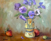 Pansies in a French Egg Cup - Original Painting On Canvas Blue Yellow Red