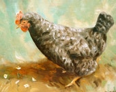 Original Oil Painting Black and White Speckled French Hen Framed Art