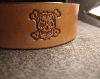 Hand Tooled Leather Headband Skull and Cross Bones in Brown
