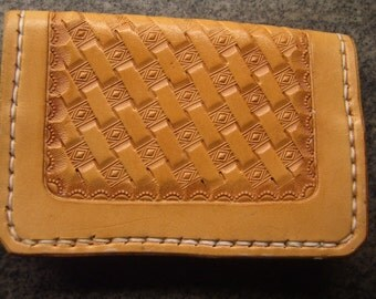 Hand Tooled Leather Credit Card Wallet or Business Card Holder- Diamond Basketweave