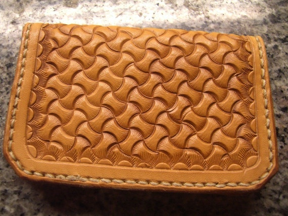 Hand Tooled Leather Credit Card Wallet or Business Card Holder- Montana Basket weave