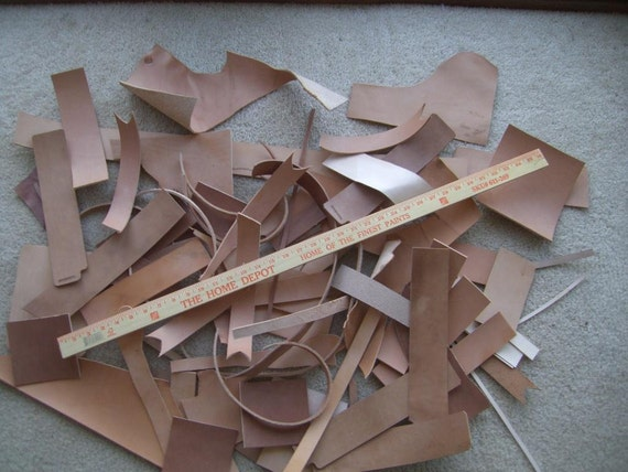 Vegetable Tanned Leather Scraps 5.25 pounds