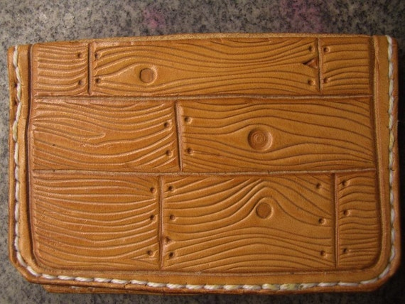 Hand Tooled Leather Credit Card Wallet or Business Card Holder- Woodgrain Patten