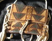 Hand Painted Rawhide Bag with Fringe Geometric Triangles Native American Indian