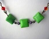 sour apple howlite stone necklace
