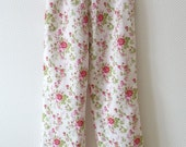 Floral Pajama Pants. Size Small. Romantic Rose Print in red. pink. white