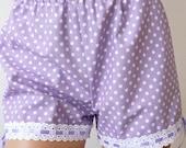 Organic cotton shorts. Polkadot bloomers. Lavender. Size Small. OOAK