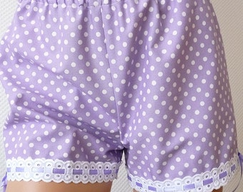 Organic cotton shorts. Polkadot bloomers. Lavender. Size Small. OOAK