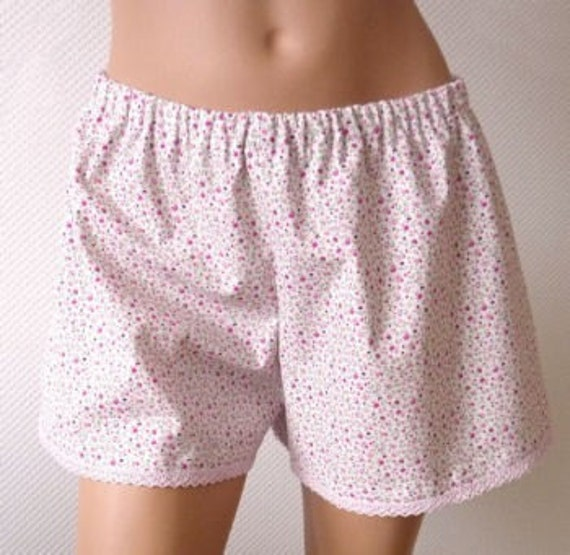 French Knickers. Pajama Shorts. Medium. Millefiori. Violet. Lace.