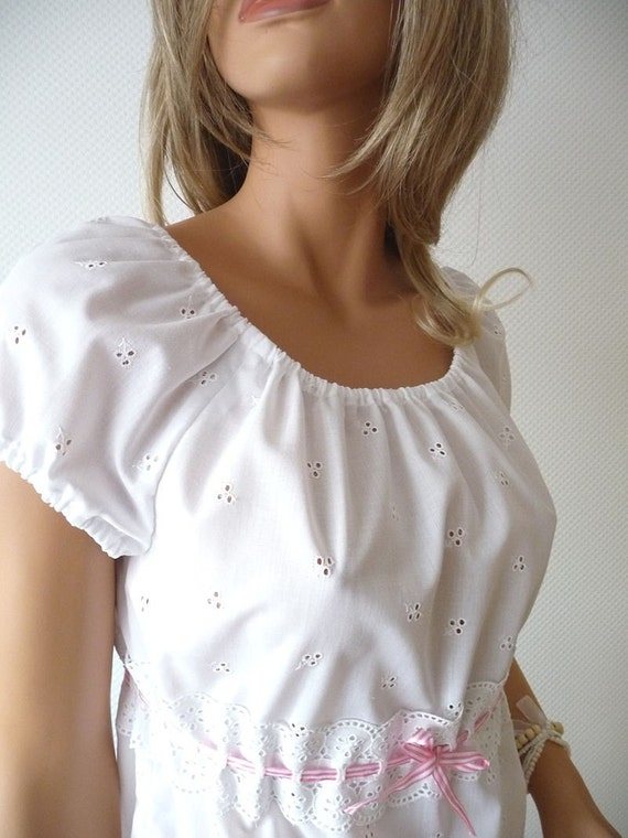 Pajama Set. Snow white cotton eyelet with vintage lace and bow. Size Medium