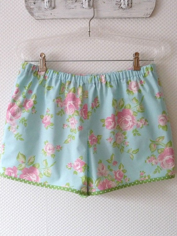 Romantic Floral Shorts. Summer Shorts. Size Large. Sky Blue