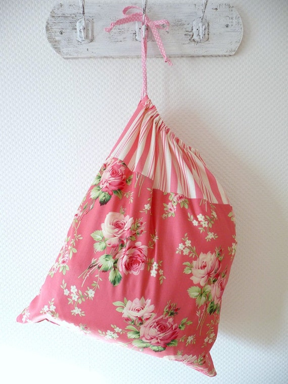 Shabby Chic Laundry Bag. Lingerie Bag. Roses and Ticking Stripe. Salmon Pink