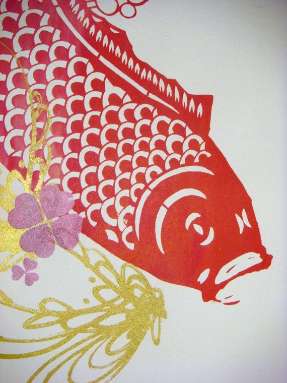 "Gorgeous gold and coppery orange ""Koi Swimming"" unique Screenprint 9""x12"""