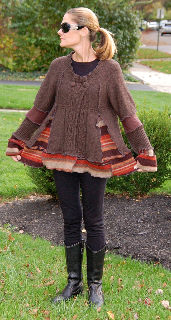 Recycled Sweater Coat - Swing Style- Brown- Earth Tones - FREE US SHIPPING