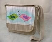 Original hand painted messenger bag - love birds